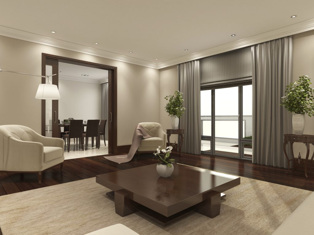 modern reception room with neutral colours and blinds and curtains at the windows