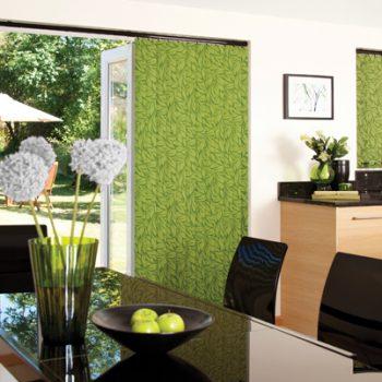 green vertical kitchen blinds