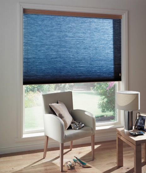 statement dark blue pleated blind
