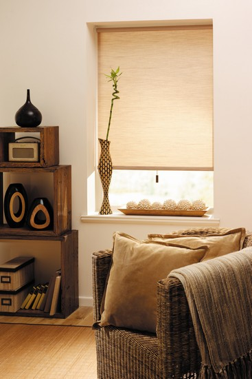 beige neutral coloured room with roller blind
